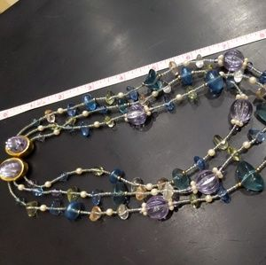 Vintage glass bead 3 strand necklace